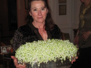 One of our Hostesses, Chantal, with flowers from her garden