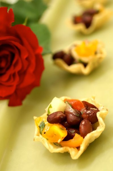 Tortilla Cups with Black Bean- Pineapple Salsa