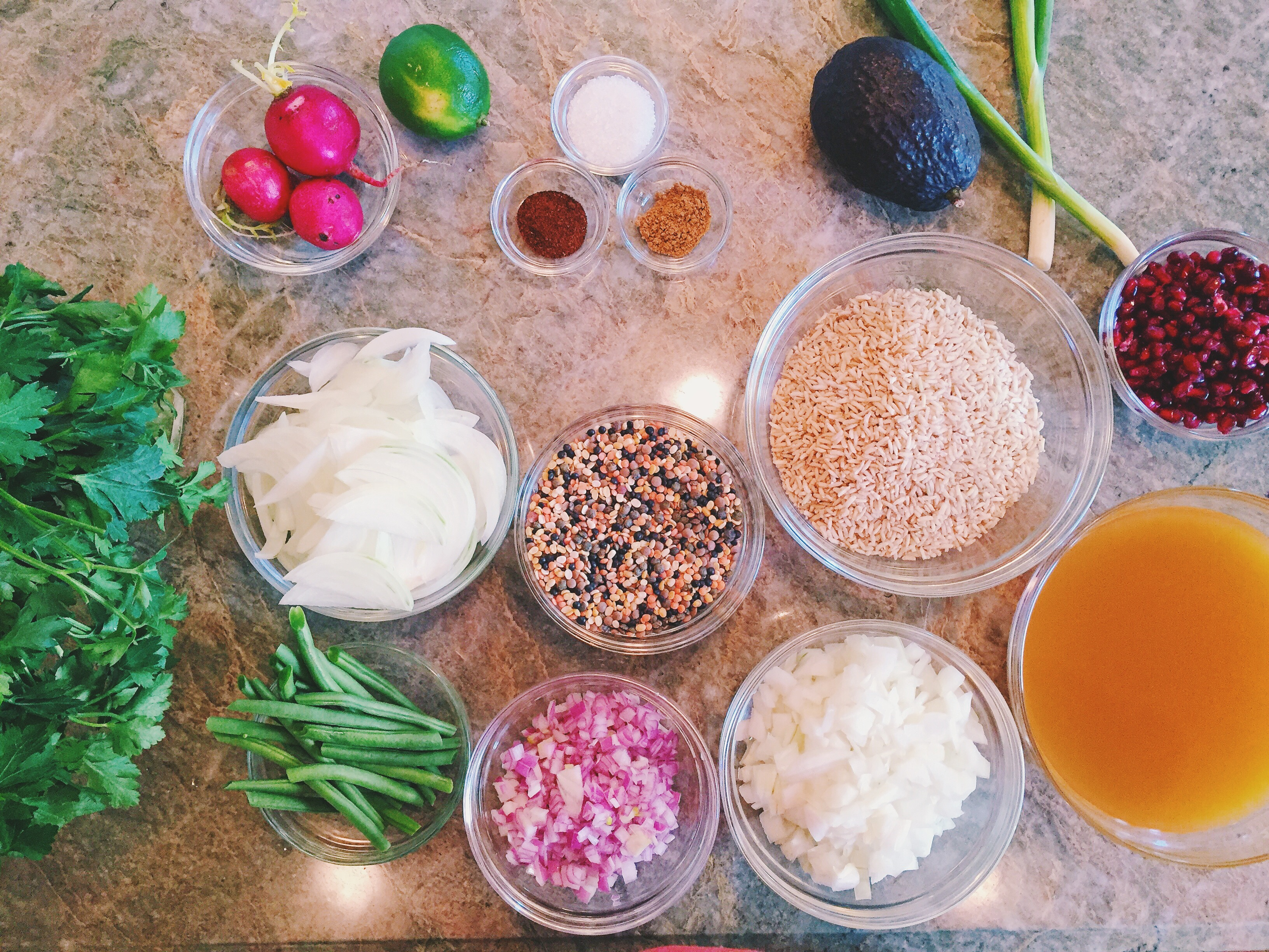 Mise En Place for Lentil Rice Bowl