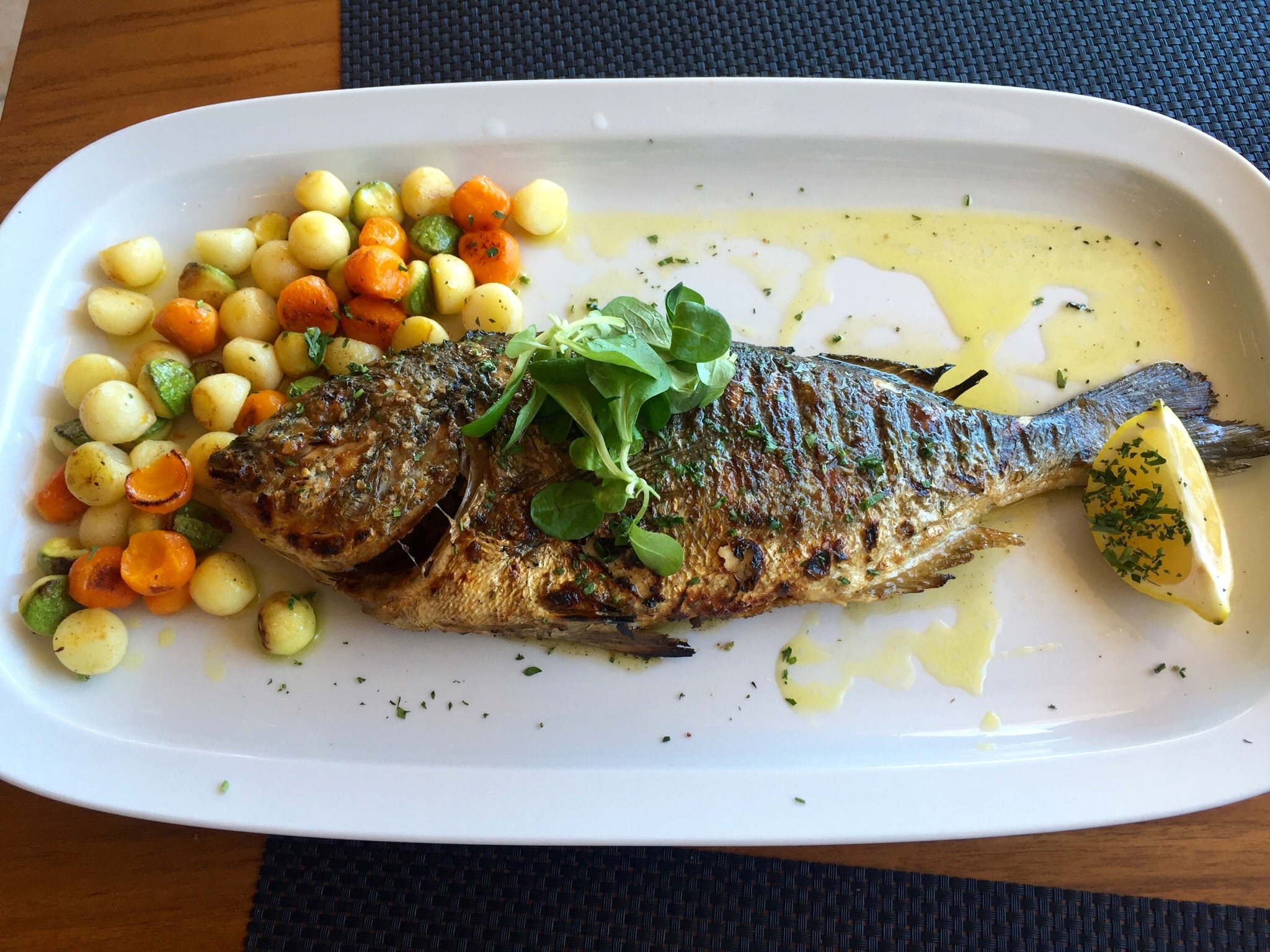Loved eating this seabass which was caught that day! Seaside Restaurant, Santorini