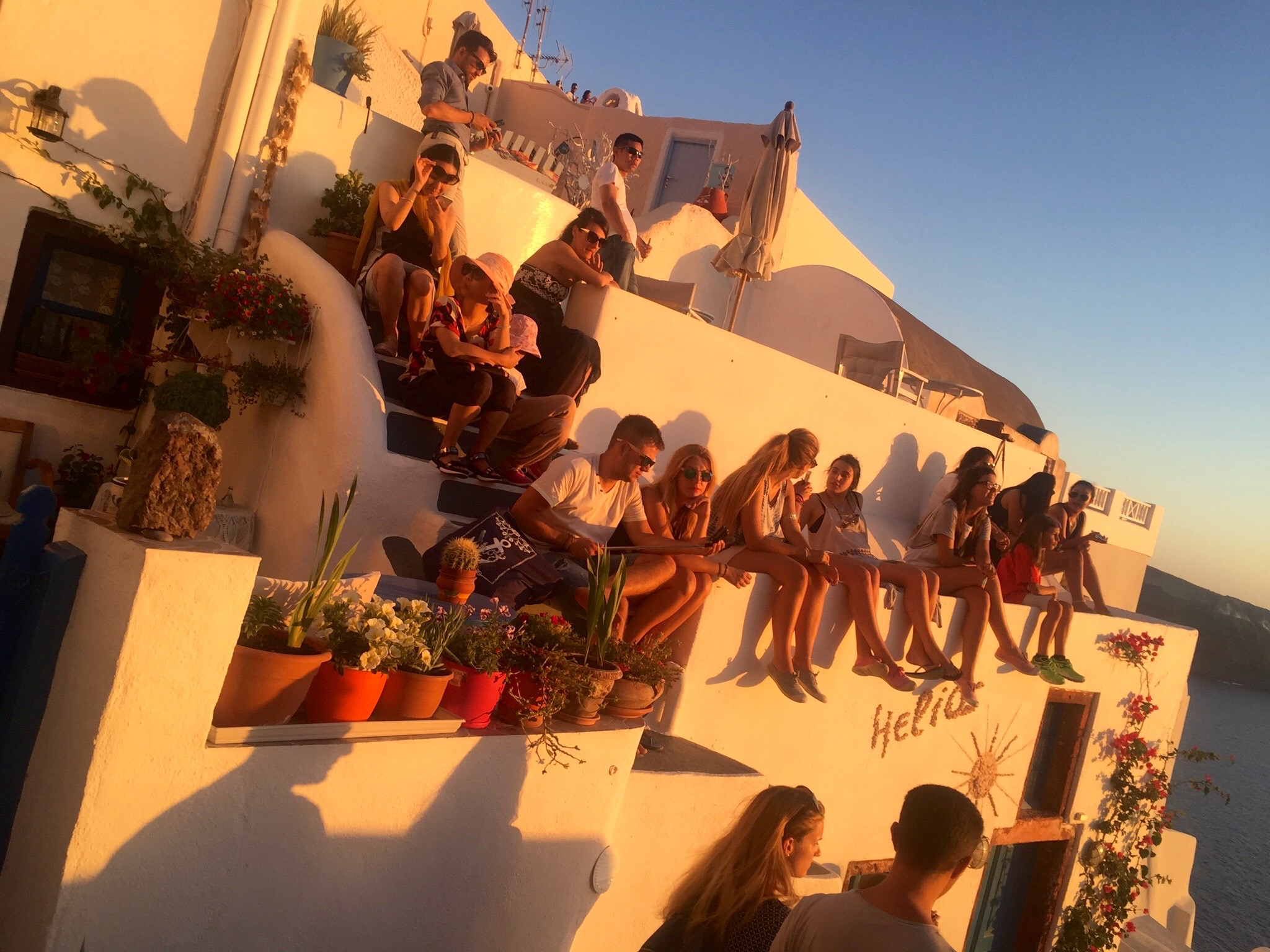 Watching the sunset in Oia, Santorini