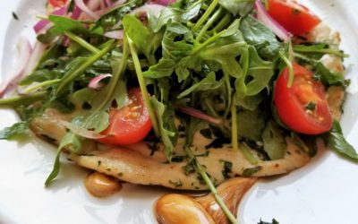CHICKEN PAILLARDS with TOMATO, ARUGULA, & RED ONION SALAD