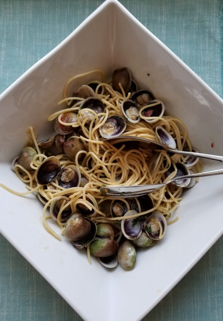 Mark's Best: Baby Clam Sauce with Spaghetti Finished Dish_Flirting with Flavors_Pamela Morgan