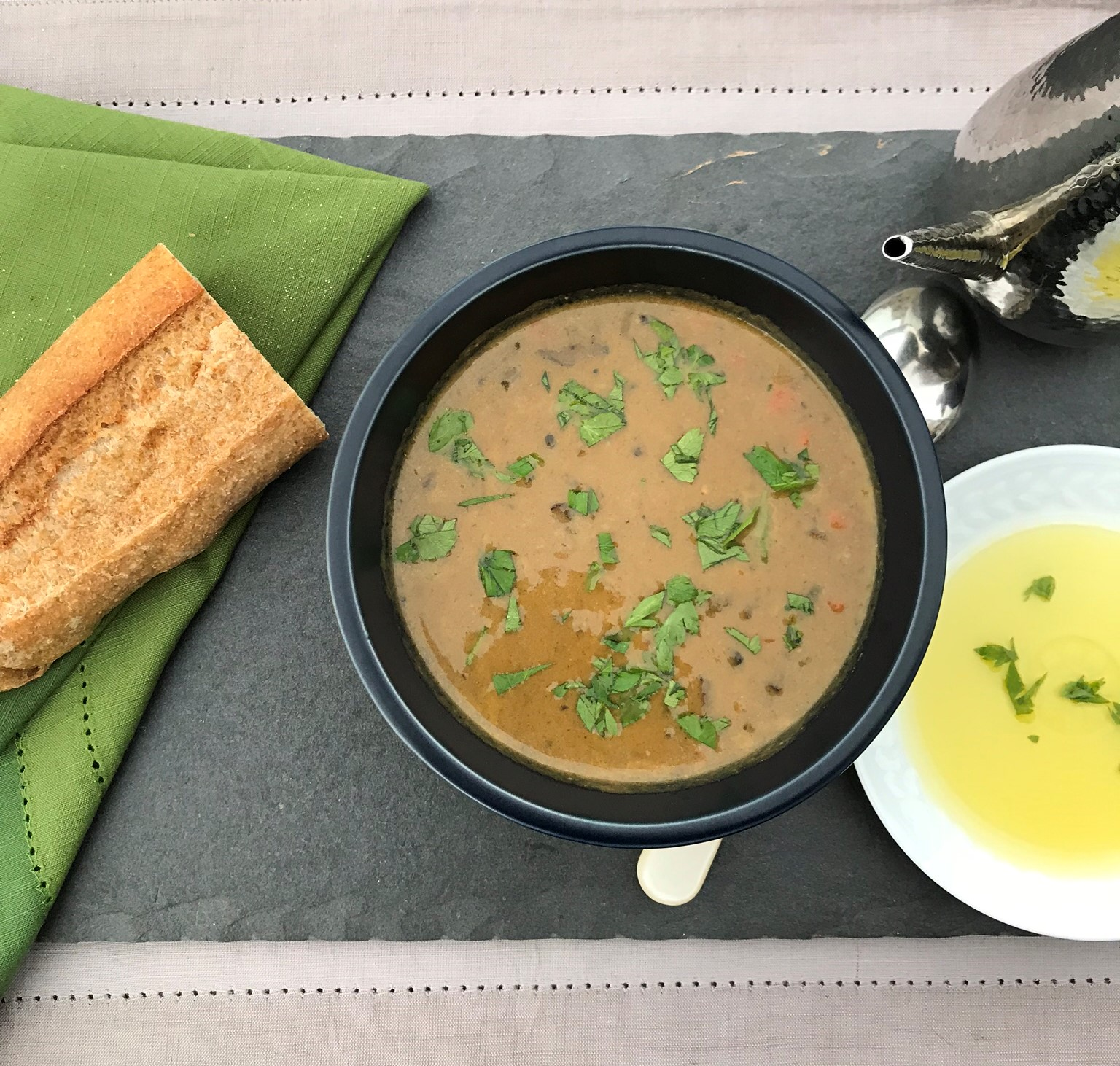 Mushroom Soup Makeover_cropped soup overhead_Pamela Morgan_Flirting with Flavors