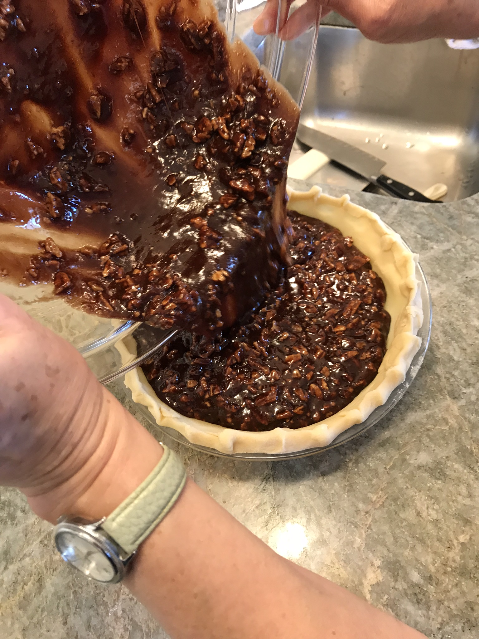 Chocolate Pecan Pie Pouring into Shell_Pamela Morgan_Flirting with Flavors