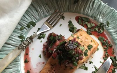 Roasted Salmon with Blood Orange Salsa