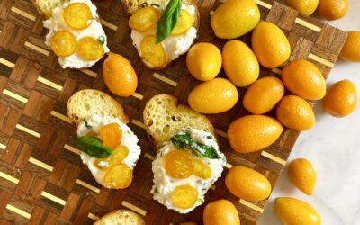 Crostini with Herbed Ricotta and Candied Kumquats