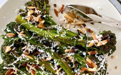 Sautéed Broccolini with Garlic, Lemon, Almonds and Parmesan