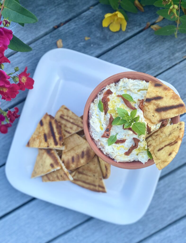Goat Cheese and Caramelized Onion Spread with Chile Pita Chips, Pamela Morgan